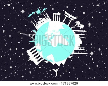 Planet Earth In Space. World Landmarks Of Architecture. Travel Around The World. Vector Illustration