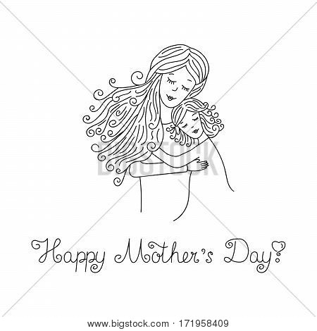 Mother with daughter. Element for design. Card for Mother's Day. Vector line illustration with lettering.