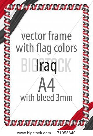 Frame and border of ribbon with the colors of the Iraq flag