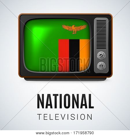 Vintage TV and Flag of Zambia as Symbol National Television. Tele Receiver with Zambian flag