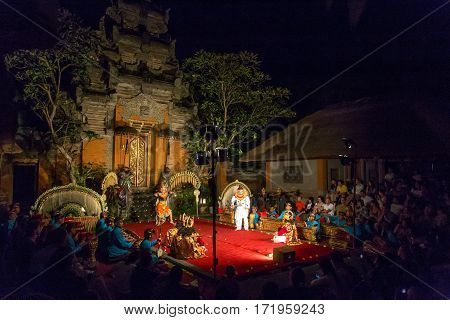 Ubud, Indonesia - July 01, 2015: Traditional dance Legong and Barong performed by professional actors in Ubud Palace