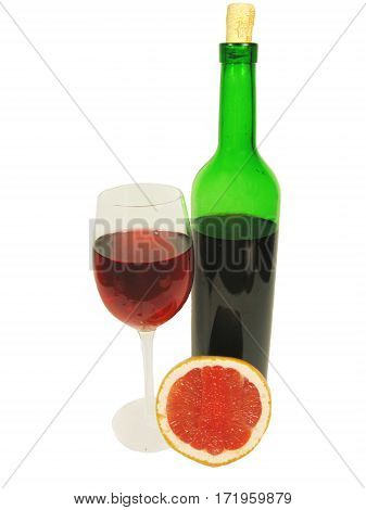 bottle and goblet of red wine with grapefruit