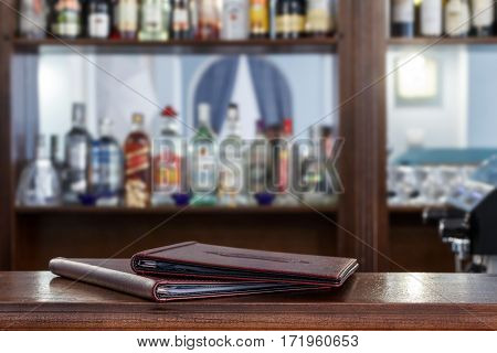 Menu is a close-up on the bar on the bar's background