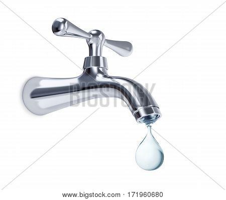 Water tap with big drop of water isolated on white. 3D rendering with clipping path