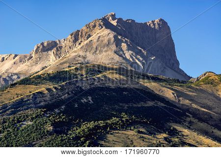 Bure Peak and the Devouy Massif in summer. Hautes Alpes Southern French Alps France