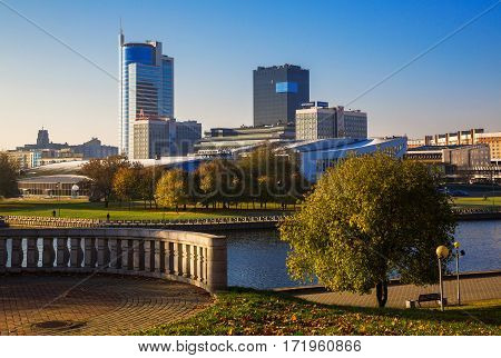 Minsk Belarus autumn view of the Avenue Pobediteley and river Svisloch 18/10/2016 Editorial