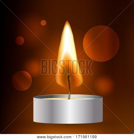 Vector realistic flame. Tea Candle on dark background.. Light effect