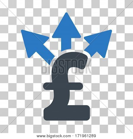 Split Pound Payment vector icon. Illustration style is a flat iconic bicolor smooth blue symbol on a transparent background.