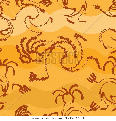 Seamless pattern with silhouettes of the primitive people