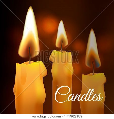 Vector realistic flame. Wax church Candle on dark background. Light effect