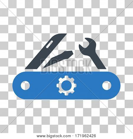 Swiss Knife vector pictograph. Illustration style is a flat iconic bicolor smooth blue symbol on a transparent background.