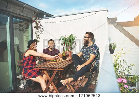Bearded Man With Couple Drinking Wine On Roof