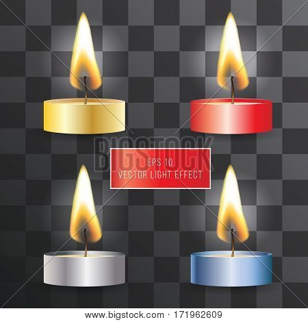 Vector realistic flame. Candle set on transparent background. Tea and wax candles. Light effect