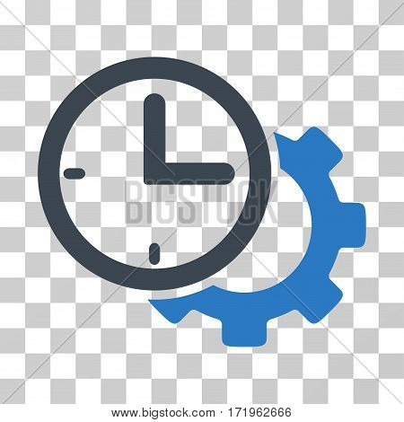 Time Setup Gear vector pictograph. Illustration style is a flat iconic bicolor smooth blue symbol on a transparent background.