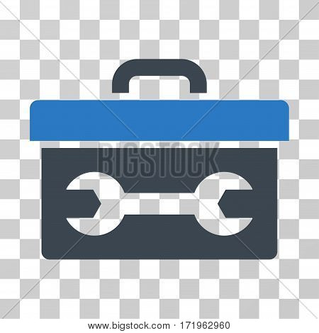Toolbox vector pictograph. Illustration style is a flat iconic bicolor smooth blue symbol on a transparent background.