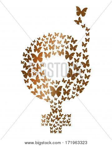 Gold gender symbol consisting of flying butterflies. Gender symbol icons. Gender female symbol. Design element for celebration of the International Women's Day. Vector illustration