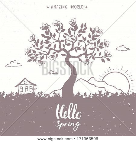 Beautiful view with mountain, house and amazing blossom tree with sample text. Vector illustration