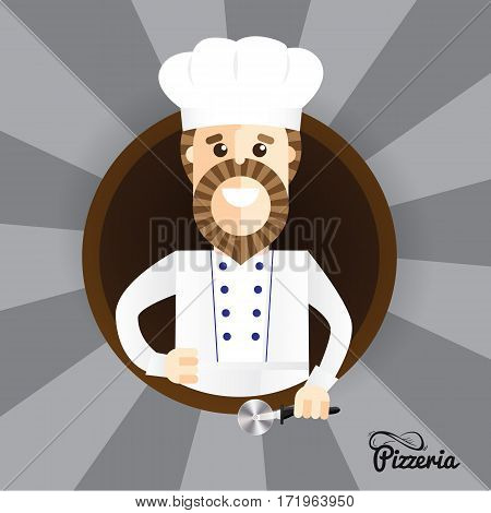Happy pizza maker making thumbs up sign. Trendy stylish vector character can be used in restaurant identity. Set of the professions