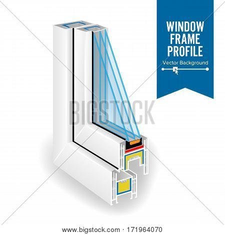 Plastic Profile Energy Saving Window. Three Transparent Glass. Vector