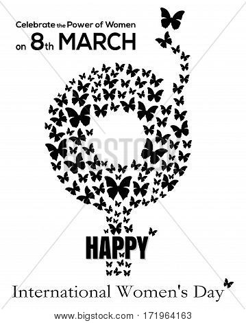 Gender symbol consisting of flying butterflies. 8 March. Black gender female symbol icon isolated on white background. International Women's Day card. Happy Women's Day concept. Vector illustration
