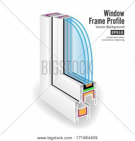Plastic Window Frame Profile. Structure Corner Window. Three Transparent Glass. Vector
