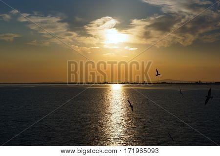 Sunrise over Kerch Strait. Black Sea. Crimea  .