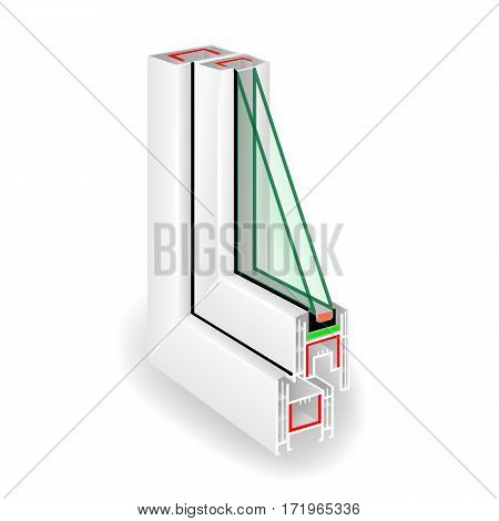 Plastic Window Frame Profile. Two Transparent Glass. Vector