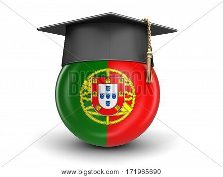 3D Illustration. Graduation cap and Portuguese flag. Image with clipping path