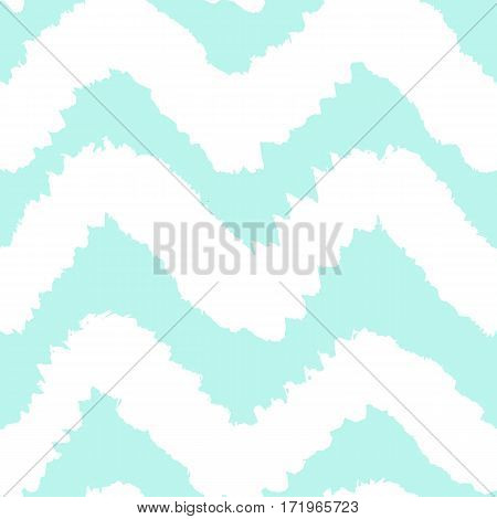 Blue and white chevron seamless pattern. Vector hand drawn background