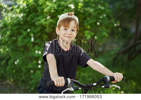 cheerful boy sits on a bicycle. Summer day