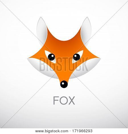 Vector red fox head in front view. Eps8. RGB. Global colors