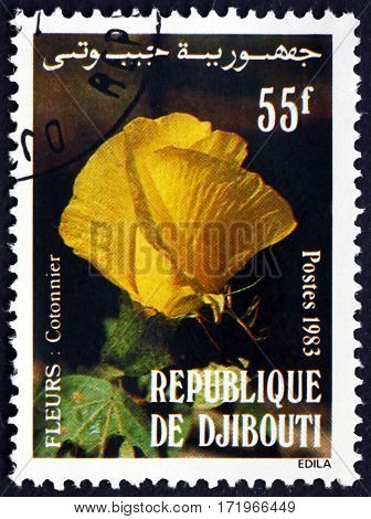 DJIBOUTI - CIRCA 1983: a stamp printed in Djibouti shows Local flower circa 1983