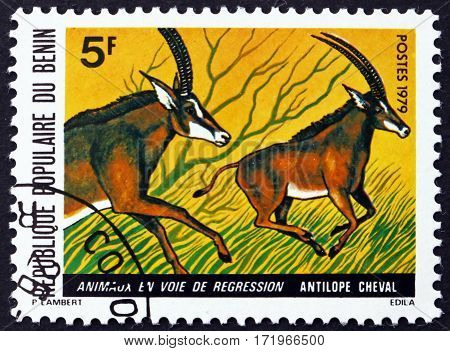 BENIN - CIRCA 1979: a stamp printed in Benin shows Antelope circa 1979