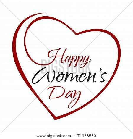 Happy Women's Day. Hand lettering on the background framework of hearts. Greeting inscription with the International Women's Day. Vector illustration