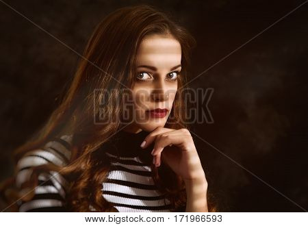 Serious Sad Woman Thinking Over A Problem