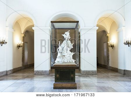 Naples Italy - June 18 2016: A typical ceramic work in the entrance hall of the Capodimonte royal palace