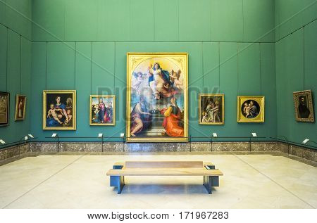 Naples Italy - June 18 2016: The hall with Raffaello's paintings in the Capodimonte royal palace