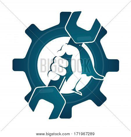 Repair symbol spanner in hand silhouette vector