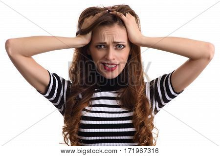 Woman Surprise Holds Head By Hand