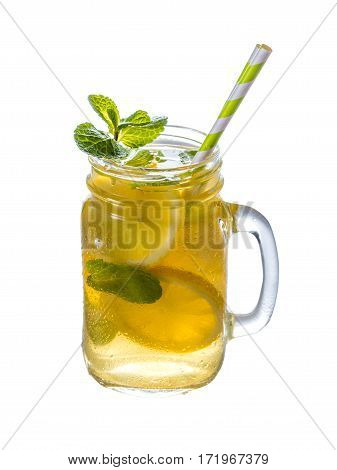 Lemonade with mint in mason jar isolated on white background. Summer drink.