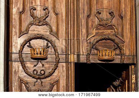Fragment Of Old Wooden Door. Saint-petersburg.