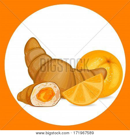 Croissant with orange icon. Croissant vector illustration.