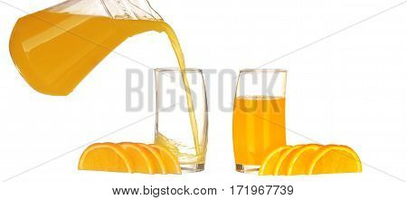 Collage Orange Juice And Slices Of Orange Isolated On White