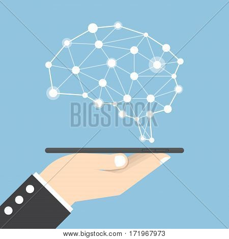 Businessman Hand Holding Tablet With Virtual Brain