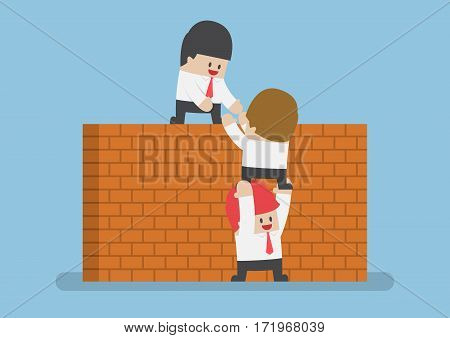 Businessman Help His Friend To Cross The Brick Wall