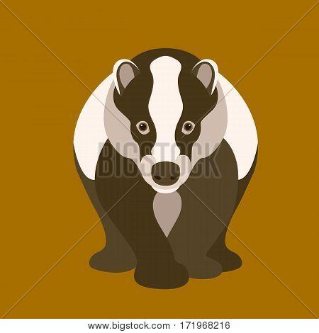 badger vector illustration style Flat front side