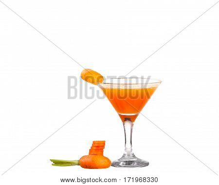 Carrot Juice And Slices Of Carrot Isolated On White