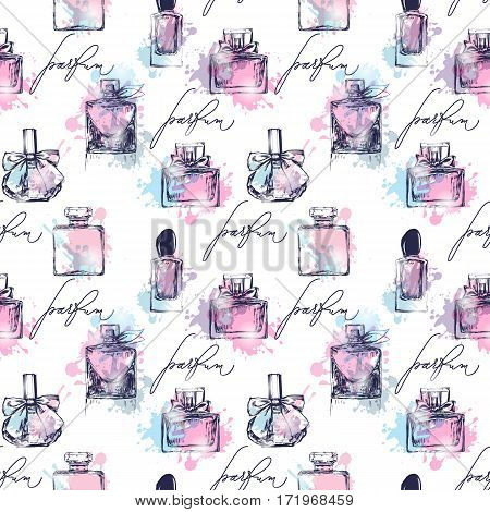Seamless pattern with beautiful bottles of perfume. Womens perfume. Vector watercolor.