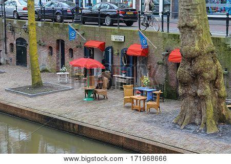 Utrecht the Netherlands - February 13 2016: Antiek furniture shop near Oudegracht canal in historic city centre (Oudegracht)