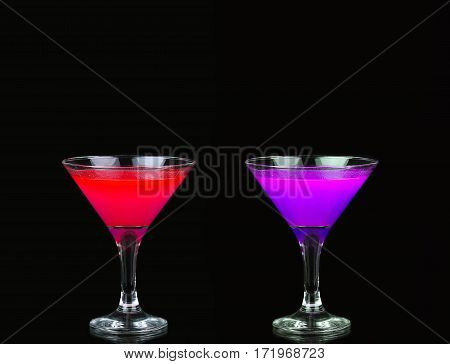 Cosmopolitan Cocktail In Nice Red, Purple  In Front Of A Black Background